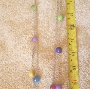Multi-colored bead necklace and earring set